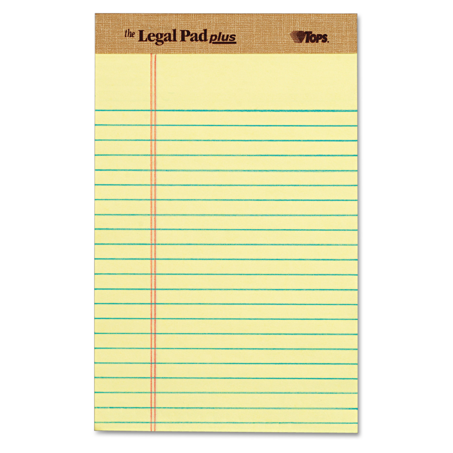 "TOPS ""The Legal Pad"" Ruled Perforated Pads, Narrow, 5 x 8, Canary, Dozen"
