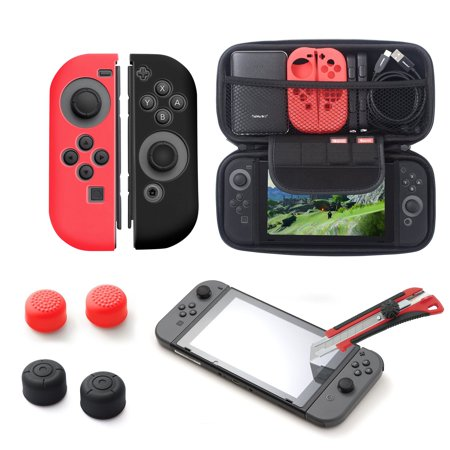 Nintendo Switch accessories bundle kit, by Insten Glass Screen Protector + Carrying Travel Hard Case Full Protection Cover + Joy-Con Controller Skin [Left/Right] + 4-pc Thumb Grip Stick Caps (Xbox One Controller Full Shell)
