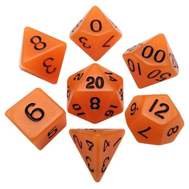 Metallic Dice Games LIC304 16 mm Ground Dice, Set of 7 - Orange with Black Numbers