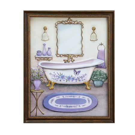 Lavender Bathroom Framed Wall Art Decoration (Framed Wall Art Bathroom)