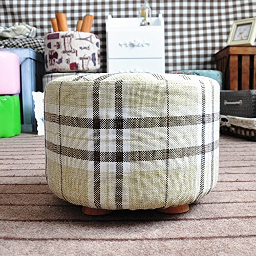 DL furniture - Round Ottoman Foot Stool, 4 Leg Stands, Short Leg, Round Shape | Linen Fabric, Striped Cover