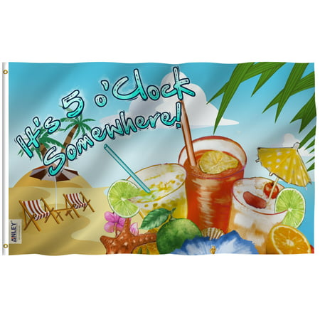 Anley Fly Breeze 3x5 It's 5 o'Clock Somewhere Flag - Vivid Color and UV Fade Resistant - Canvas Header and Double Stitched - Sandy Beach Flags Polyester with Brass Grommets 3 X 5 (5 Oclock Somewhere Garden)