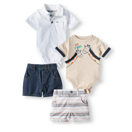 Garanimals Baby Boys' Mix and Match Bodysuits and Shorts, 4-Piece Outfit - Baby Themes For A Boy