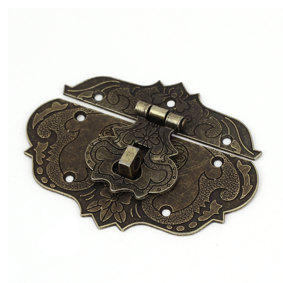 Antique Style Wooden Case Chest Toolbox 86x65mm Clasp Hasp Latch Bronze Tone by Unique-Bargains