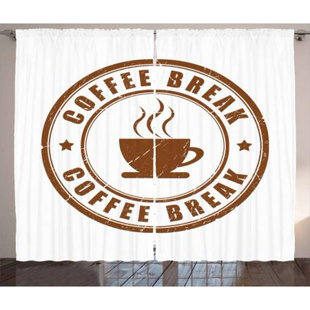 Coffee Curtains 2 Panels Set, Worn Coffee Break Seal Design with Stars Circular Pattern and Glass Silhouette, Window Drapes for Living Room Bedroom, 108W X 90L Inches, Caramel White, by Ambesonne