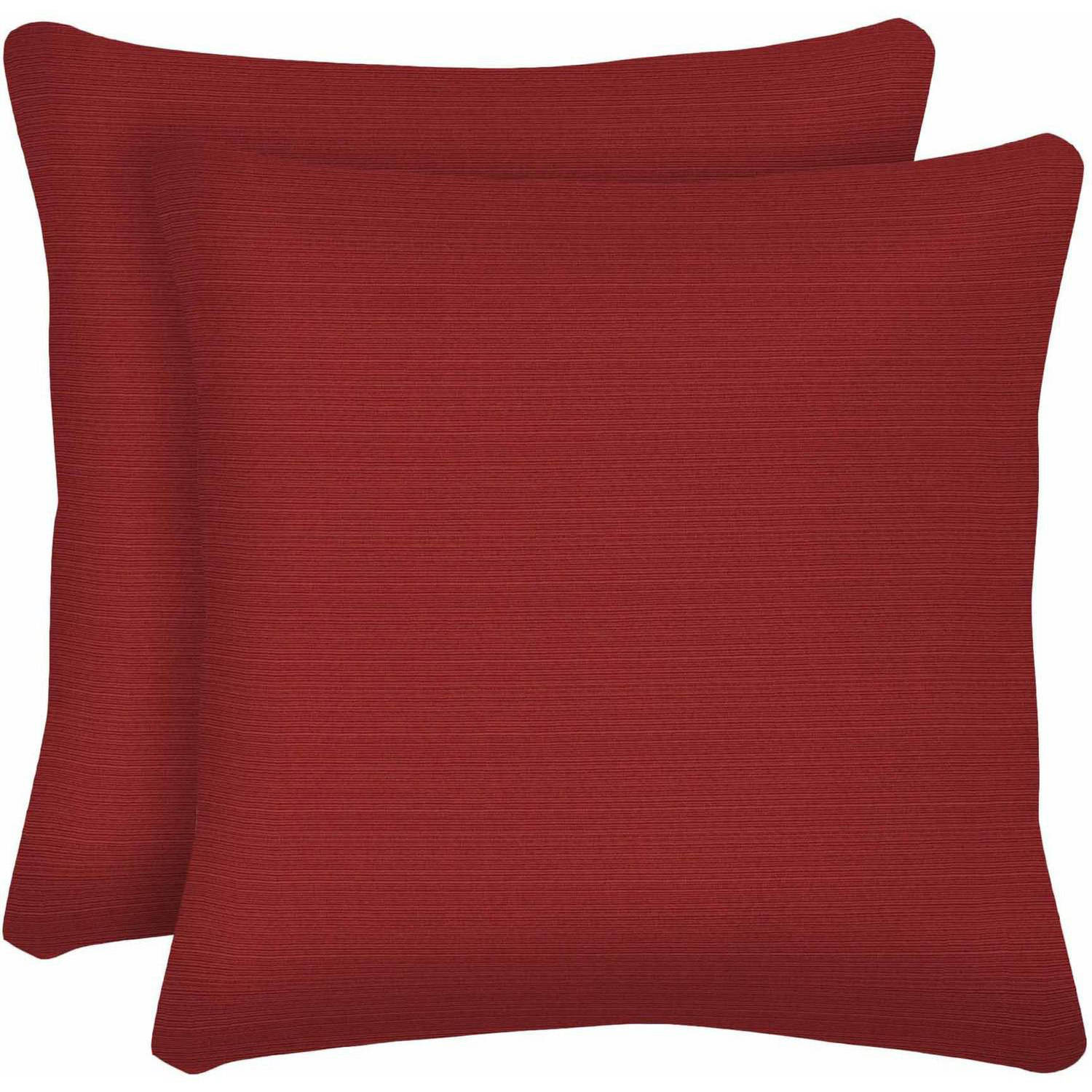 "Better Homes and Gardens Outdoor Patio 16"" Square Toss Pillow, Set of 2, Red"