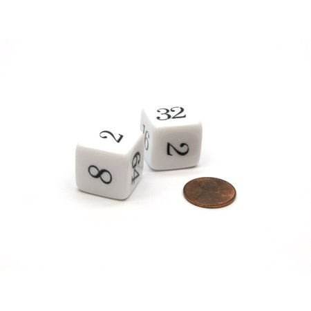 Backgammon Doubling Cube 20mm Chessex Dice, 2 Pieces - White with Black Numbers