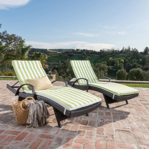 Darby Home Co Roma Outdoor Wicker Armed Lounge with Cushi...