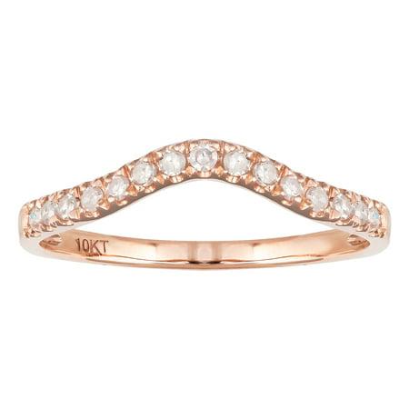 10k Rose Gold Curved Diamond Wedding Band (1/5 cttw, I-J Color, I2-I3 Clarity) - Rose Gold Wedding Colors