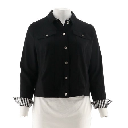 Ponte Knit Coat (Kelly Clinton Kelly Ponte Knit Jacket Gingham Accents A288287)