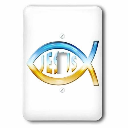 Chrome Symbol Single (3dRose Christian Fish Symbol – Jesus (chrome) - Single Toggle Switch)