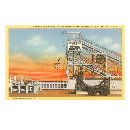 Diving Horse, Atlantic City, New Jersey Print Wall Art (Party City Atlantic)