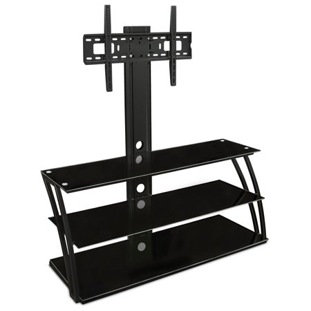 Mount It  Tv Stand Entertainment Center With Mount And Storage Shelves  Fits 32 To 60 Inch Screens  Vesa 100X100 To 600X400  Glass Shelving  88 Lbs  Black   Mi 864