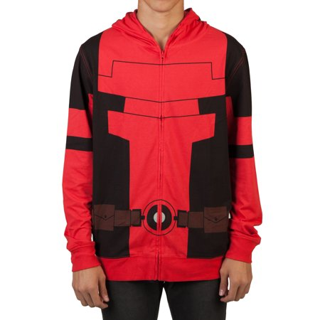 Marvel Men's Lightweight Cosplay Zipper Hoodie with Full Face Covering Mask