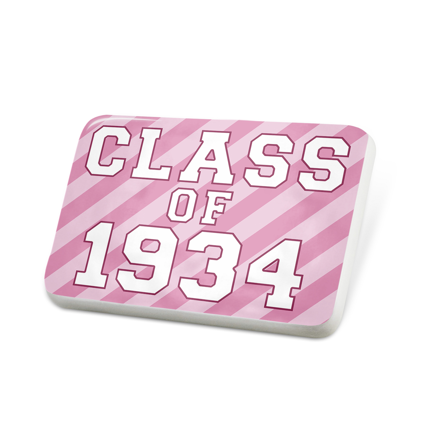 Porcelein Pin Class of 1934, in pink Lapel Badge – NEONBLOND