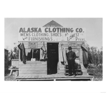 Man in Front of Alaska Clothing Co. in Anchorage Photograph Print Wall Art By Lantern
