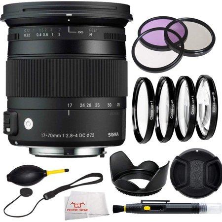 Sigma 884306 17-70mm F2.8-4 DC Macro OS HSM pour Nikon + 3 Piece Kit de filtre (UV-CPL-FLD) + 4 Pièce Macro Kit de filtre (+ 1, + 2, + 4, + 10) + Lentille capuche + capuchon d'objectif et gardien + Bl - image 1 de 1
