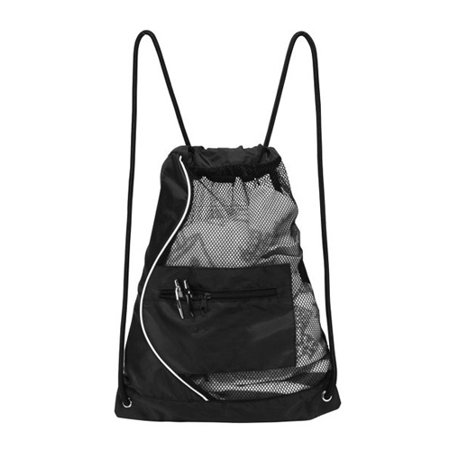 BLACK MESH DRAWSTRING CINCH -