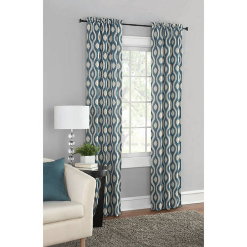 Mainstays Blackout Print Woven Window Curtains, Set Of 2