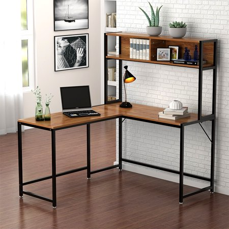 Tribesigns L Shaped Desk with Storage, Corner Desk with Hutch for Home Office (Walnut) ()