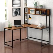 Tribesigns L Shaped Desk with Storage, Corner Desk with Hutch for Home Office (Walnut)