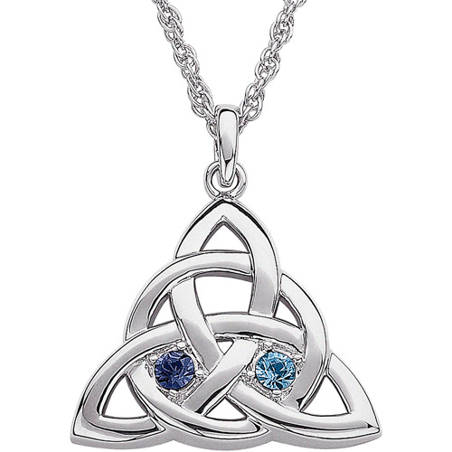 """Personalized Couple's Birthstone Silver-Plated Celtic Knot Pendant, 20"""""""