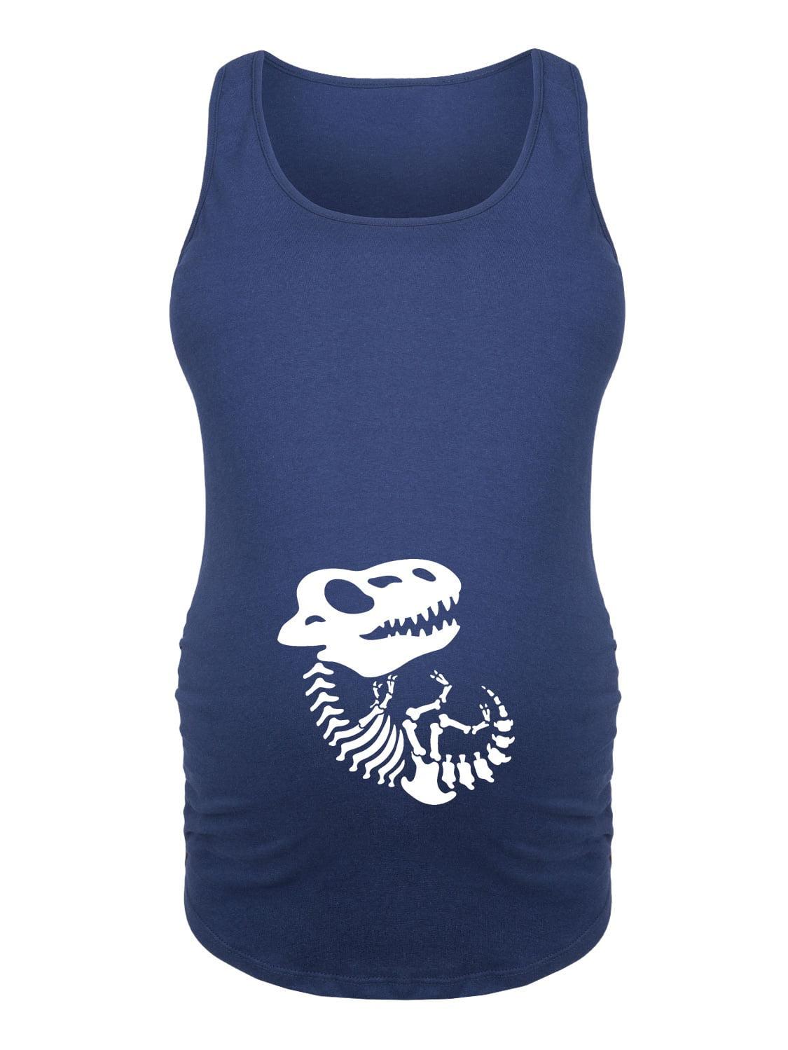 Skeleton Dinosaur Belly - Ladies Maternity Tank