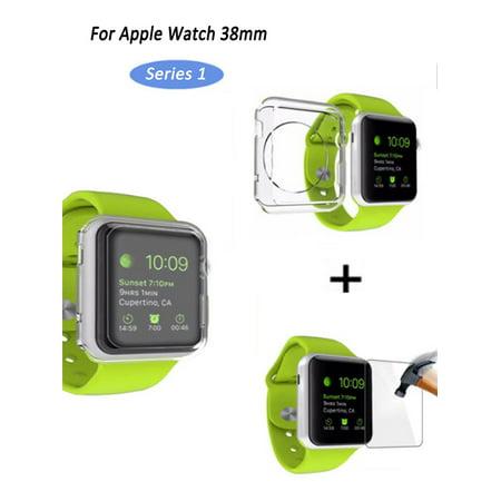 promo code 857c6 030d7 Apple Watch [38mm Series 1] HD Clear Anti-Scratch Tempered Glass Screen  Protector + Soft Slim Lightweight TPU Full Body Protective Case Bumper  Cover ...