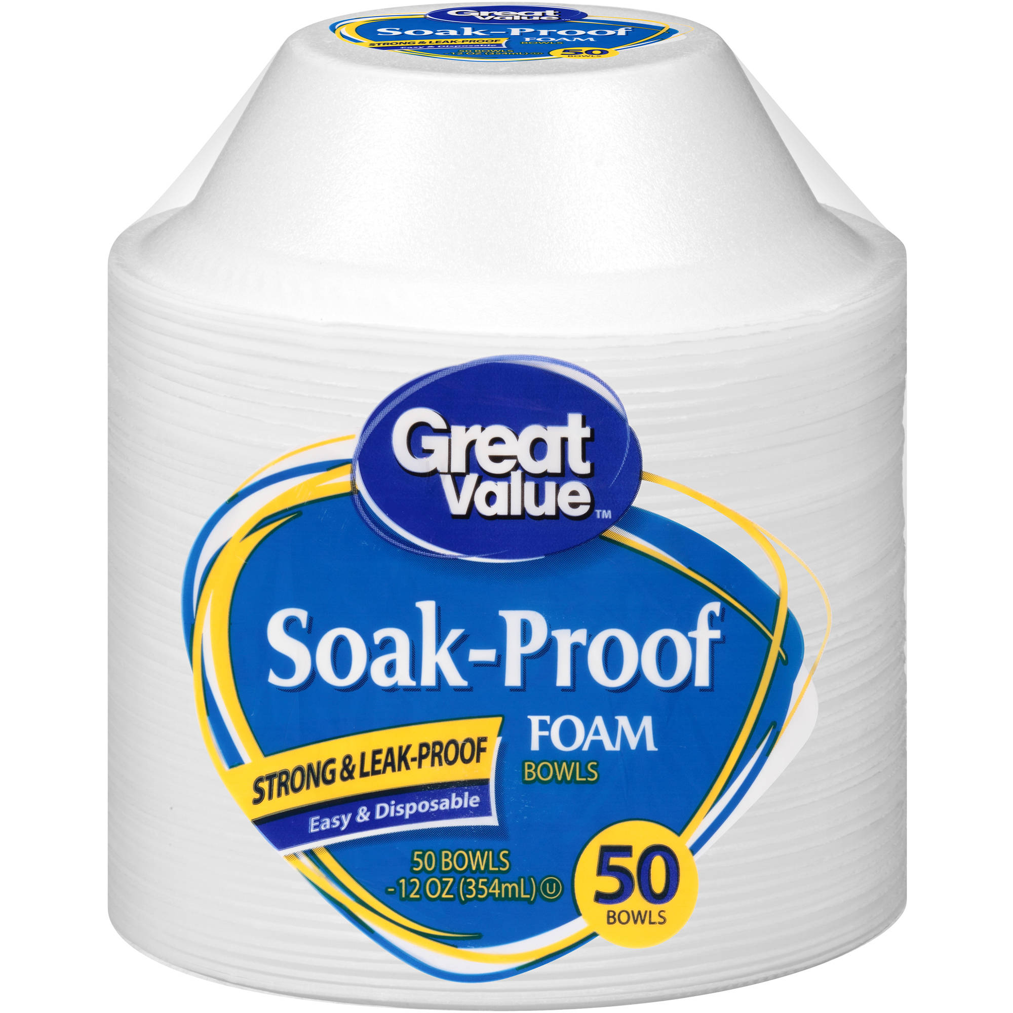 Great Value 12oz Soak Proof Foam Bowls, 50ct