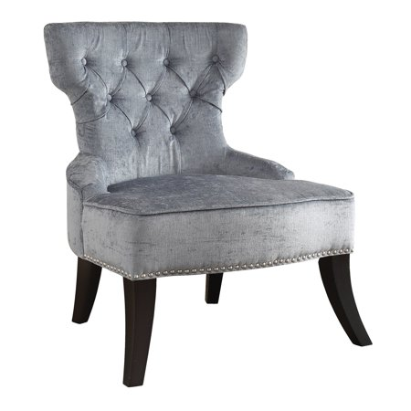 Avenue Six Colton Vintage Style Button Tufted Velvet Chair with Nailhead Detail