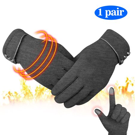 Winter Gloves, EEEKit Warm Thick Gloves Anti-Slip Touchscreen Soft Cashmere Cold Proof Windproof Cable Knitted Gloves Hand Warmers for Women, Red