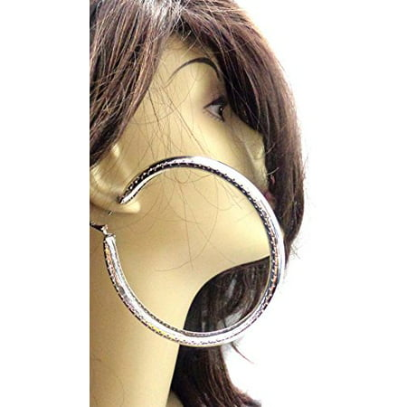 Dotted Hoop - Large 4 inch Hoop Earrings Silver Tone Shiny Dotted Round Hoops