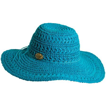 Panama Jack Women's Crocheted Toyo Sun Hat with Sizing Tie, 4