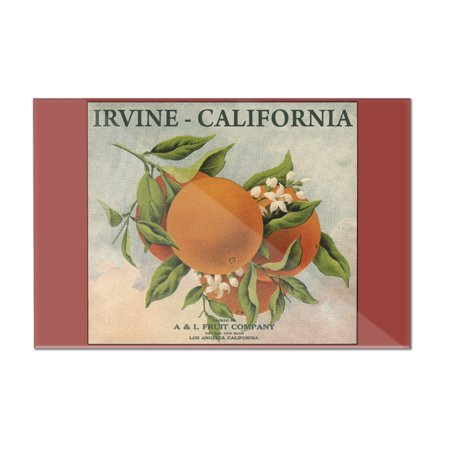 Irvine, California - Fruit Company Orange Citrus Crate - Vintage Label (12x8 Acrylic Wall Art Gallery Quality)
