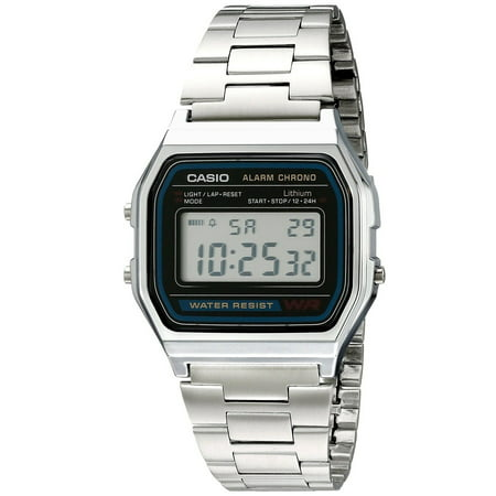Casio A158WA-1 Men's Vintage Metal Band Chronograph Alarm Digital Watch ()