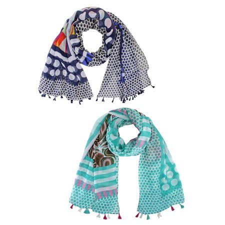 Navy Blue & Aqua Polka Dot Paisley Fashion Scarf 2-Pack Set (Navy Blue Team Scarf)