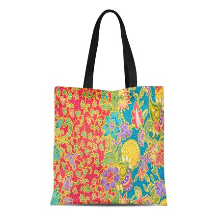 Batik Lightweight Tote (SIDONKU Canvas Tote Bag Colorful Floral Pattern for Traditional Include Batik Painting Flower Reusable Shoulder Grocery Shopping Bags Handbag)