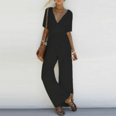 Summer sexy fashion design V-neck jumpsuit cool sense of fall trousers suit  party wide leg pants - image 5 of 5