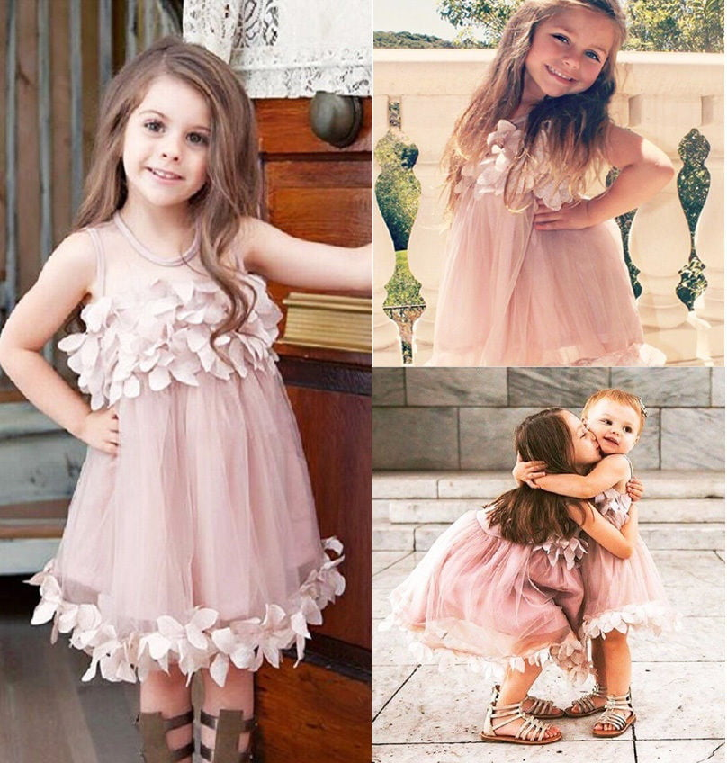 Toddler Kids Baby Girl Flower Bridesmaid Petal Tulle Pageant Party Dress Clothes