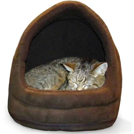 FurHaven Pet Hood Bed | Terry & Suede Hood Pet Bed for Dogs & Cats, Espresso, One-Size Camel Suede Pet Bed