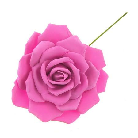 Rose Foam Flower with Stem, Fuchsia, 13-Inch - Foam Flower