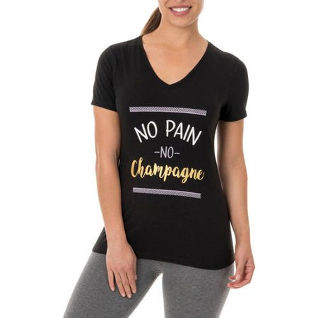 Athletic Works Womens Fitspiration Short Sleeve Graphic Vneck T Shirt