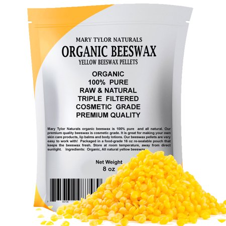 Yellow Beeswax Pellets 8 oz, Cosmetic Grade Organic BeesWax Pellets, Great for DIY Lip Balm Recipes Body Creams Lotions Deodorants By Mary Tylor Naturals