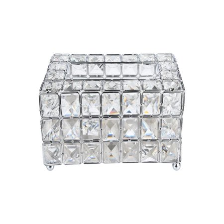 - OkrayDirect Handmade Square Crystal Tissue Box Tray 200pc Paper Towel Storage Silver