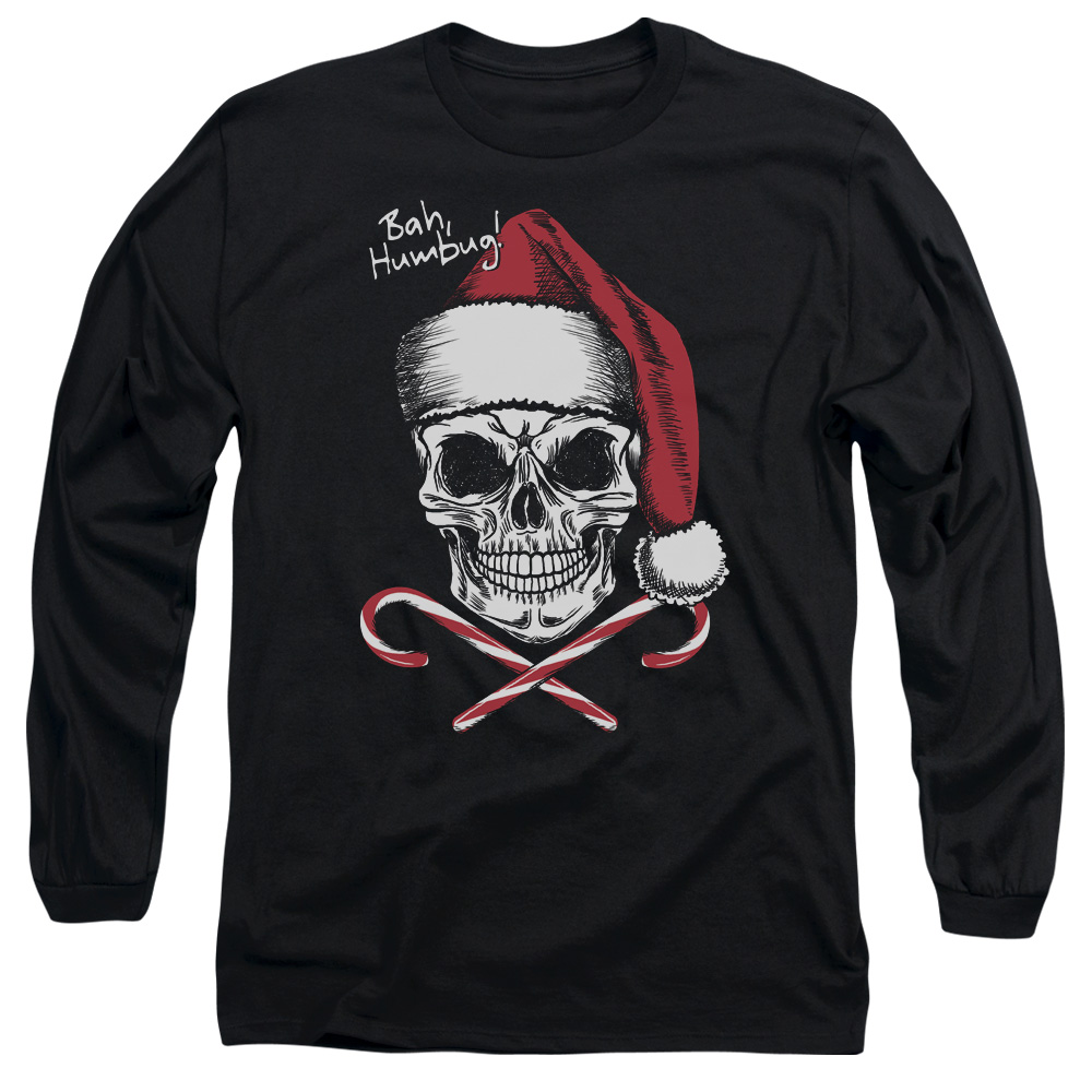 Skull Bah Humbug Mens Long Sleeve Shirt