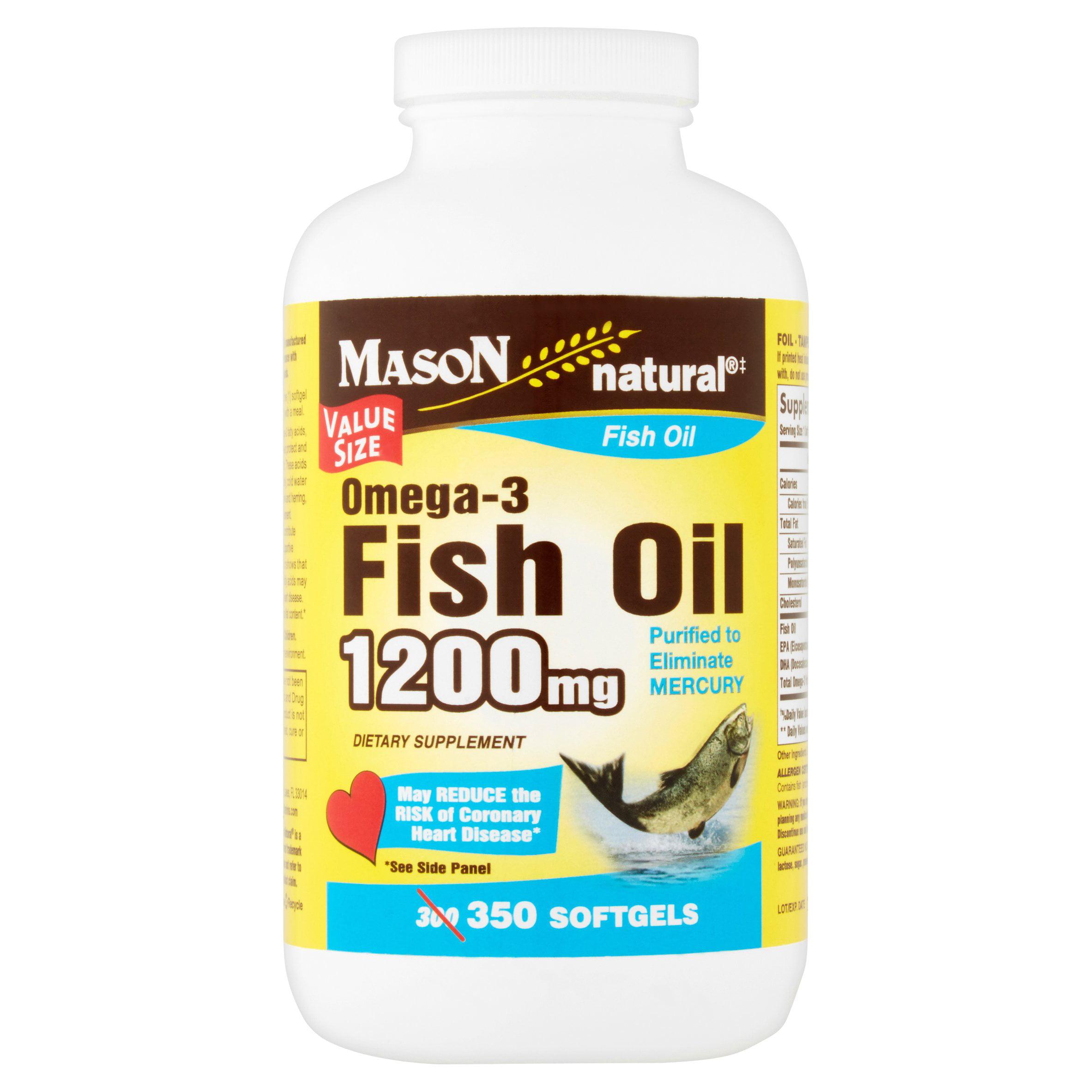 Mason Natural Omega-3 Fish Oil Softgels Value Size, 1200mg, 350 count