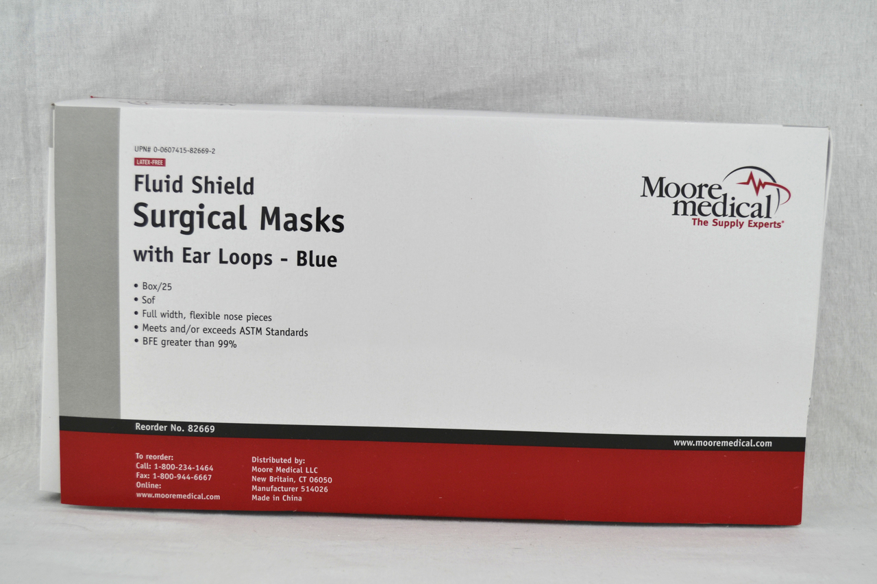 com Shields 25 Blue-box Fluid - Resistant Masks face Moorebrand Walmart Of W
