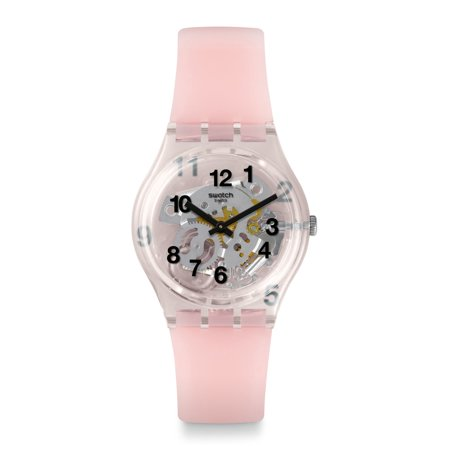 Swatch Pink Board Dial Silicone Strap Ladies Watch GP158