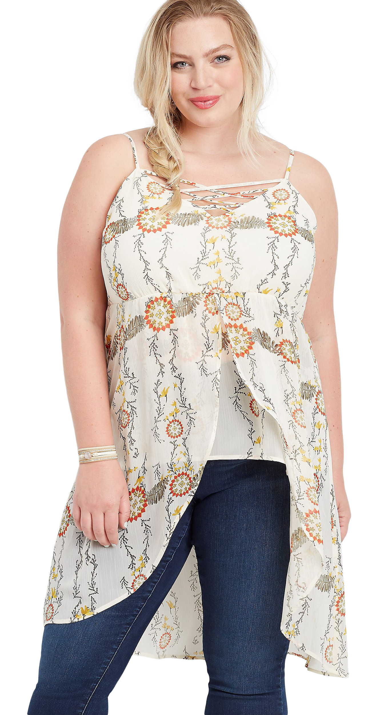 Maurices Plus Size Lattice Front Flowy Cami