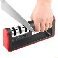 Knife Sharpeners for Kitchen, 2019 NEW Kitchen Knife Sharpener, 3-Stage Knife Sharpening System, Non-slip Base Kitchen Knife Sharpener, Easy to Use, Red, I3609
